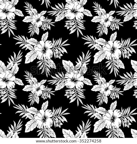 Seamless black white floral wallpaper stock vector 352274258 seamless black and white floral wallpaper mightylinksfo