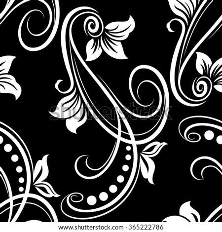 Seamless black and white flower vector pattern. - stock vector