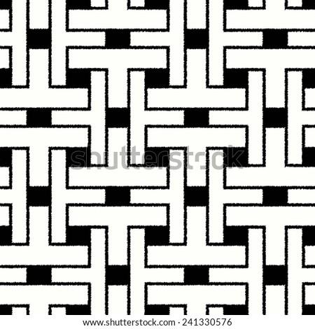 seamless black and white mesh geometric pattern - stock vector