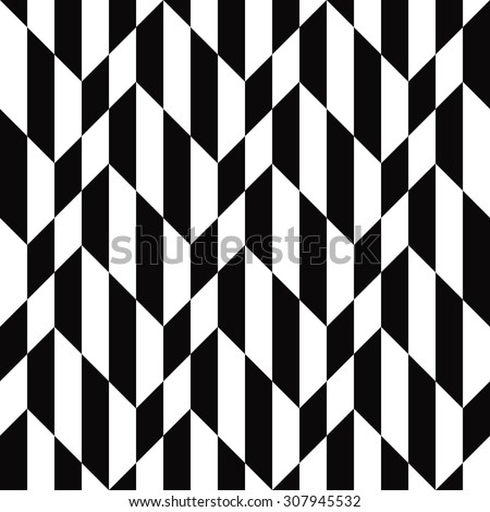 seamless black and white optical illusion chevron pattern. - stock vector