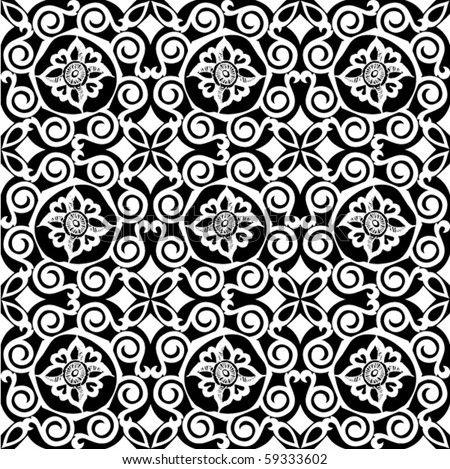 seamless black and white pattern, vector florals - stock vector