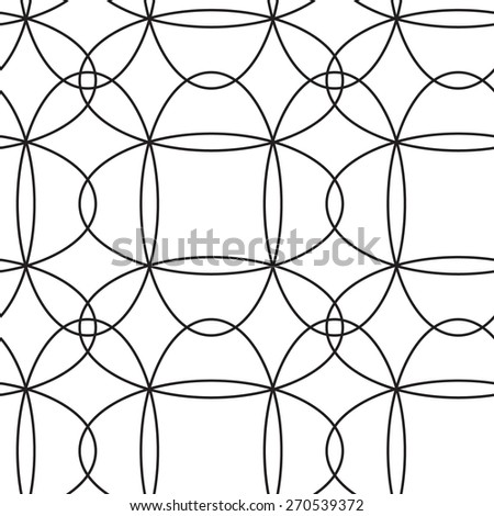 Seamless black and white pattern with ellipses, vector - stock vector