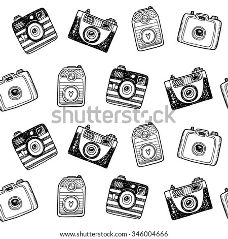 Seamless black and white pattern with hand drawn retro cameras - stock vector