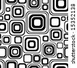Seamless black-and-white retro pattern with rounded squares - stock vector