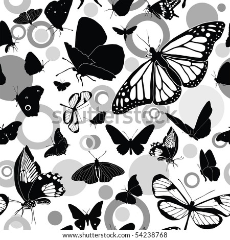 Seamless black-and-white vector pattern with butterflies - stock vector