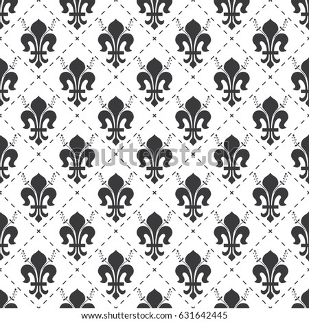 Seamless Black White Vintage French Royal Stock Vector HD Royalty