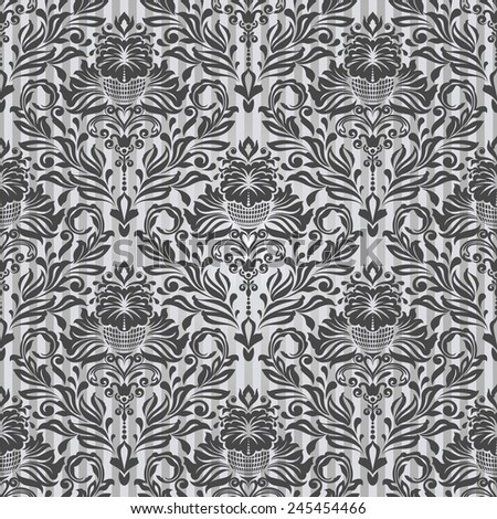 Seamless black and white vintage vector background. - stock vector