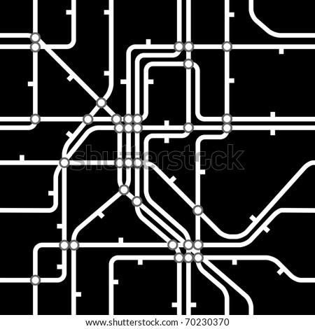 Seamless black background of metro scheme - stock vector