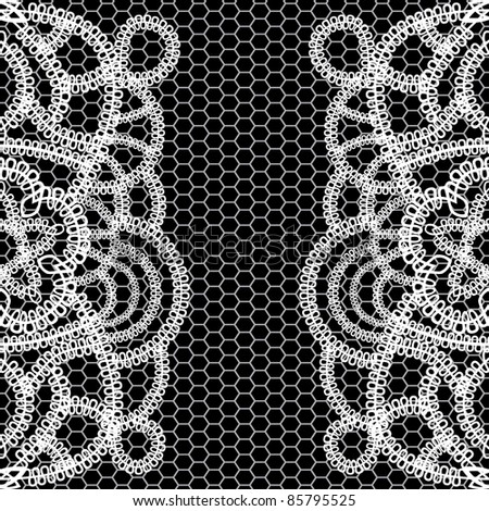 seamless black background with white lace. Vector illustration. - stock vector