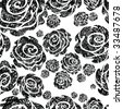 """Seamless black grunge rose pattern  (From my big """"Seamless collection"""") - stock vector"""
