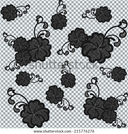 Seamless black lace fabric with flowers. Vector illustration. - stock vector