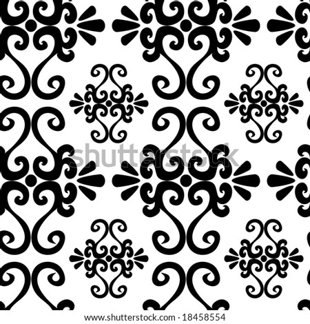 Seamless black ornament vector pattern