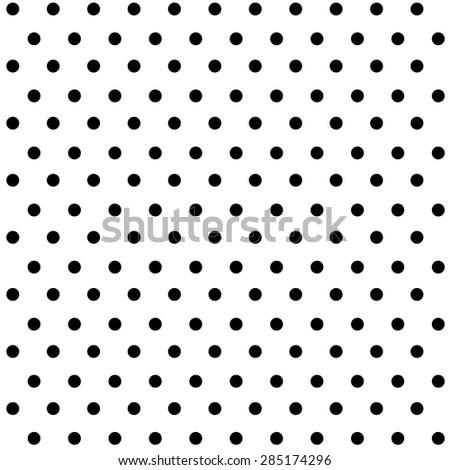 Seamless black polka dots on white background. - stock vector