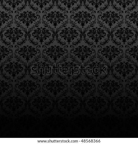 Seamless Black Wallpaper Pattern - stock vector