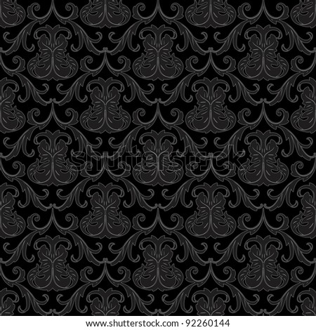 seamless black wallpaper pattern - stock vector