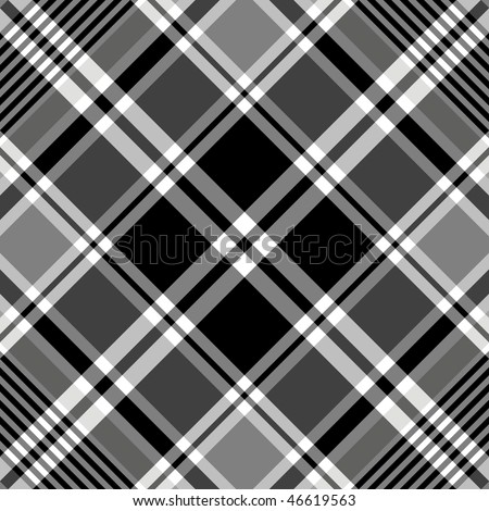 Seamless black-white and grey  tartan pattern (vector, EPS 10) - stock vector