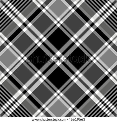 Seamless black-white and grey  tartan pattern (vector, EPS 10) - stock vector