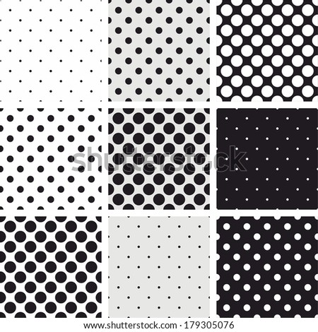 Seamless black, white and grey vector pattern or background set with big and small polka dots. For desktop wallpaper and website design. - stock vector