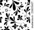 seamless black & white flower wallpaper - stock vector