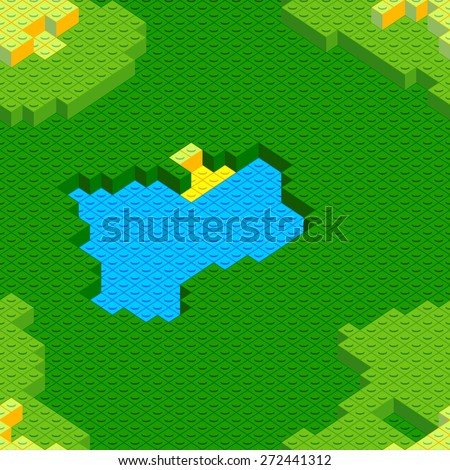 Seamless blocks rural landscape with pond and house - stock vector