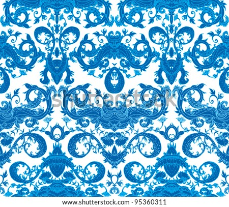 Seamless blue and white flowers vector pattern.