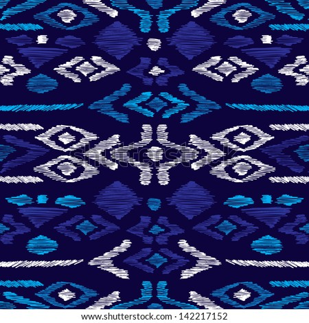Seamless blue aqua aztec vintage folklore background pattern in vector - stock vector