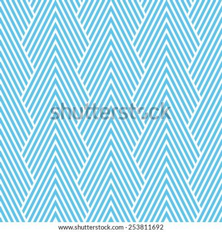 Seamless blue art deco optical chevron mountains pattern vector - stock vector