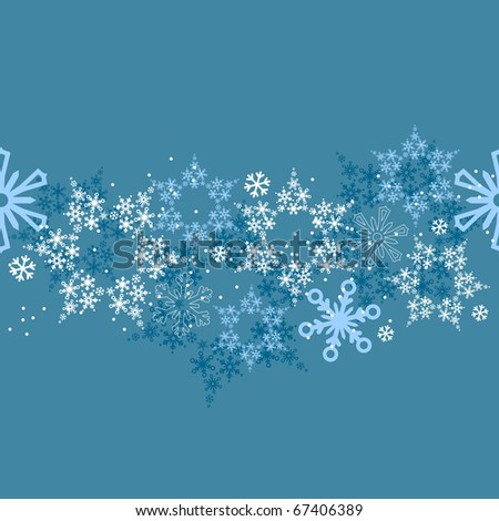 Seamless blue border with different snow flakes - stock vector