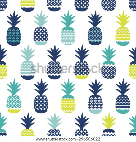 Seamless blue boy tropical pineapple summer fruit illustration background pattern in vector - stock vector