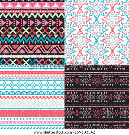 Seamless blue green and pink aztec vintage folklore background pattern in vector  - stock vector