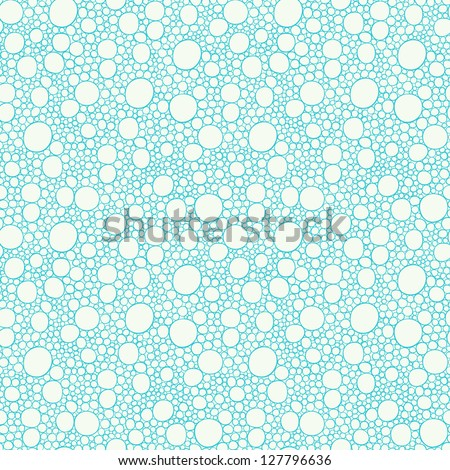 Seamless blue hand-drawn pattern with bubbles. Vector illustration - stock vector