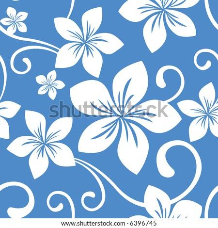 Seamless Blue Hawaii Pattern - stock vector