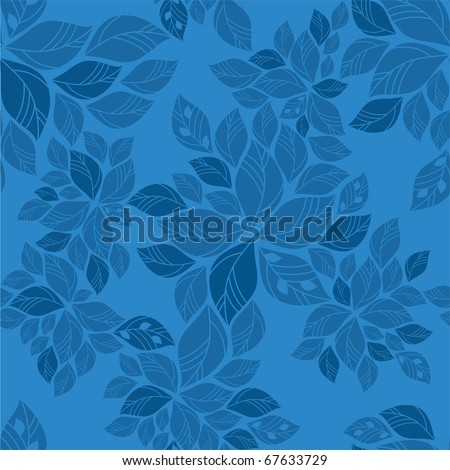 Seamless blue leaves pattern - stock vector