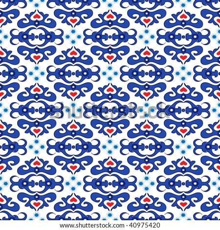 Seamless blue ornament vector pattern