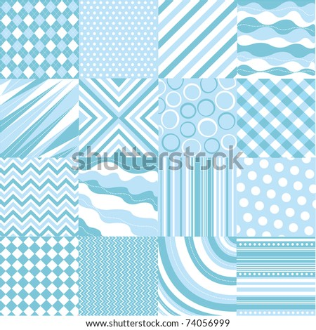 seamless blue patterns with fabric texture - stock vector