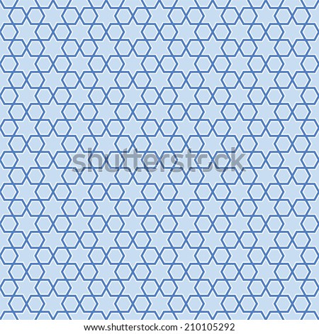 Seamless blue stars background pattern - stock vector