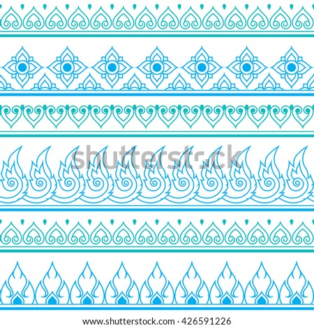 Seamless blue Thai pattern, repetitive design from Thailand - folk art style - stock vector