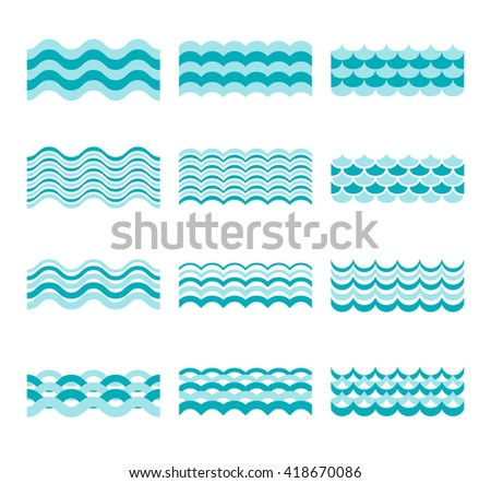 Seamless blue wave vector patterns. Wave blue pattern sea and element water wave set illustration - stock vector