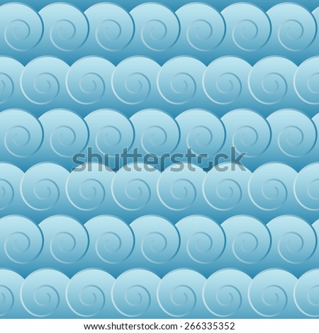 Seamless blue waves background pattern. - stock vector