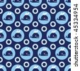 Seamless blue whale pattern for boys in vector - stock vector