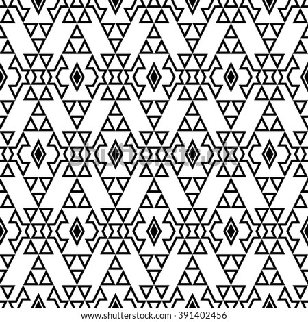 Seamless boho chic pattern with tribal aztec ornament.  Modern ethnic wallpaper. Black and white.