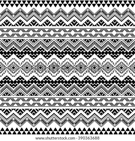 Seamless Boho Chic Pattern With Tribal Aztec Ornament Modern Folk Style Wallpaper Black And