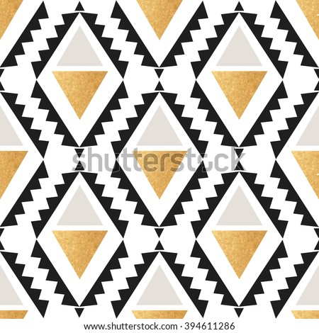 Seamless boho geometrical pattern in vector Creative mosaic fashion wallpaper for design. Background with abstract Hipster Chevron elements and golden texture - stock vector