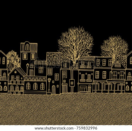 Seamless border pattern with houses and trees on dark background