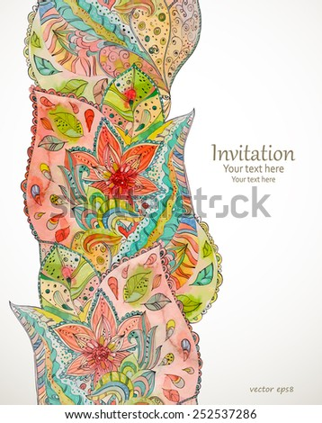 seamless border with magic pattern. watercolor painting - stock vector