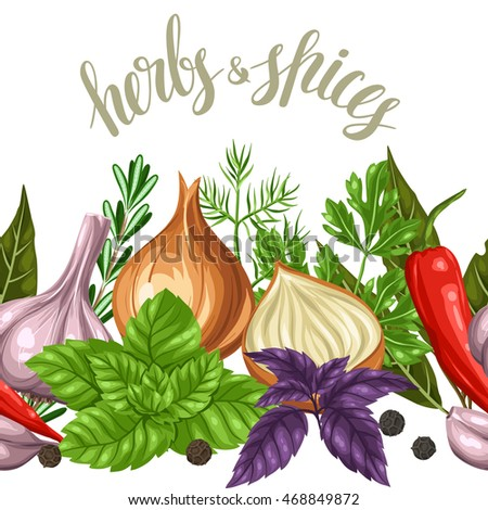 seamless border various herbs spices stock vector hd royalty free rh shutterstock com Clip Art Drawings of Spices Thyme Herb