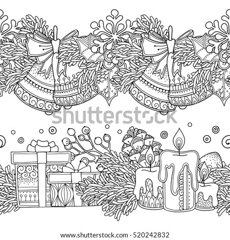 seamless borders vector set in doodle style floral ornate decorative tribal - Zentangle Coloring Book