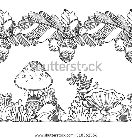 Seamless borders vector set in doodle style. Floral, ornate, decorative, tribal, forest design elements. Black and white background. Grass, mushrooms, oak leaves, acorns. Zentangle coloring book page - stock vector