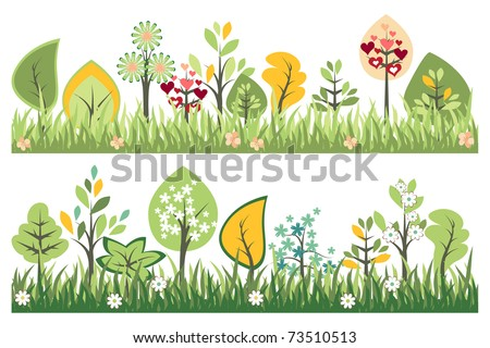 Seamless borders with grass and growing trees - stock vector