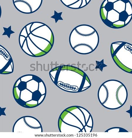 seamless boys sport background - stock vector